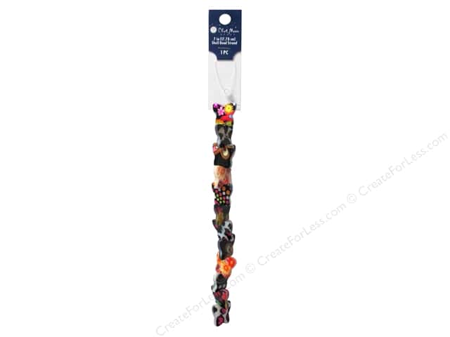 Blue Moon Beads Bead Strand 7 in. Shell Butterfly Print Multicolor