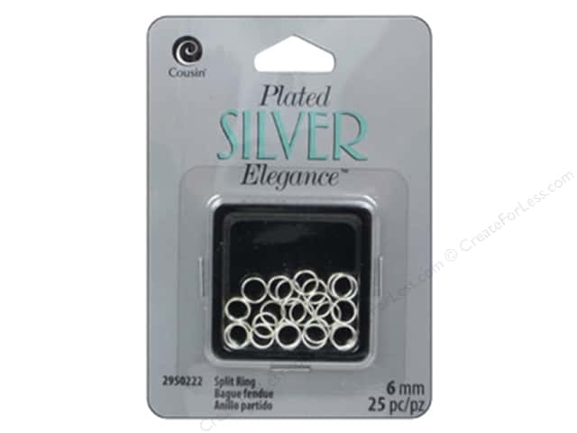Cousin Elegance Silver Plated Split Ring 6mm 25pc