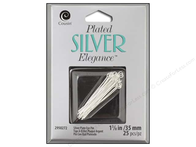 "Cousin Elegance Silver Plated Eye Pin 1.25"" 18pc"