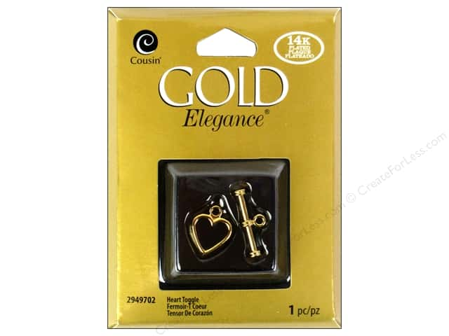 Cousin Elegance Toggle Clasp 1 pc. Heart 14K Gold Plate