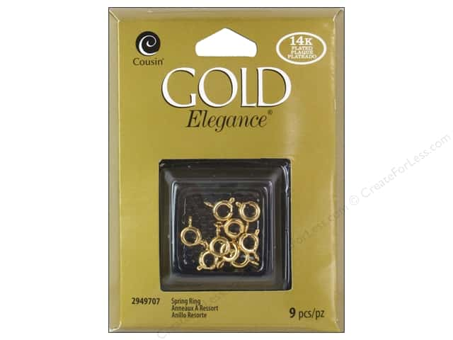 Cousin Elegance 14K Gold Plated Spring Ring 9pc