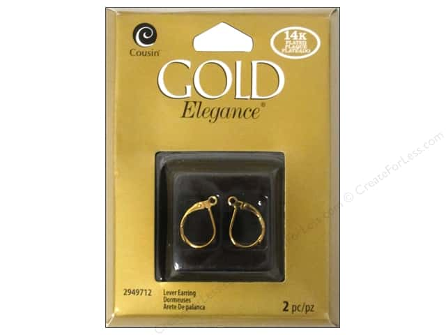 Cousin Elegance 14K Gold Plated Lever Back Earring 2pc