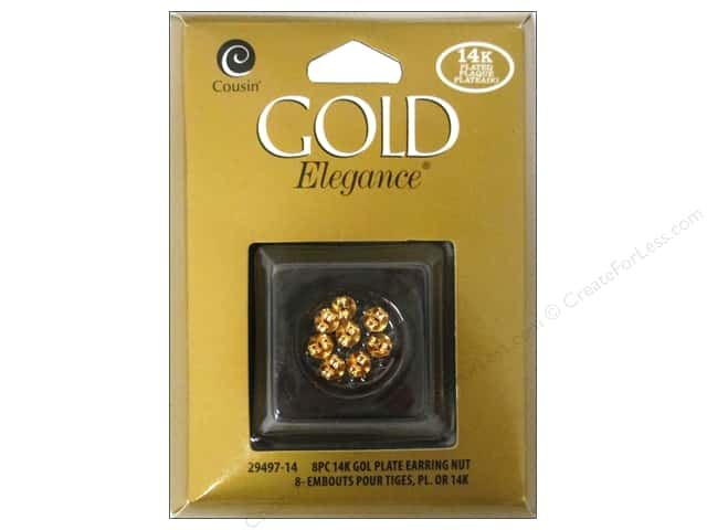 Cousin Elegance 14K Gold Plated Earring Nut 8pc