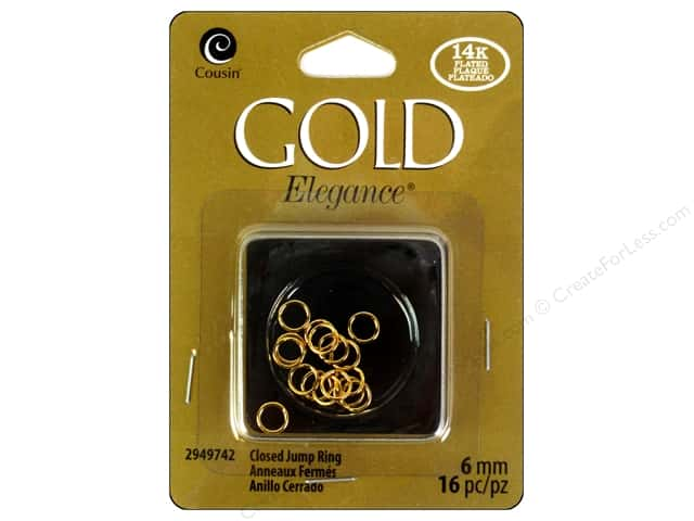 Cousin Elegance Jump Rings 6 mm 16 pc. 14K Gold Plate