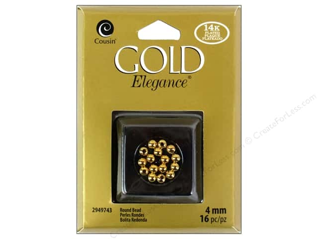 Cousin Elegance Metal Bead 4 mm Round 16 pc. 14K Gold Plate