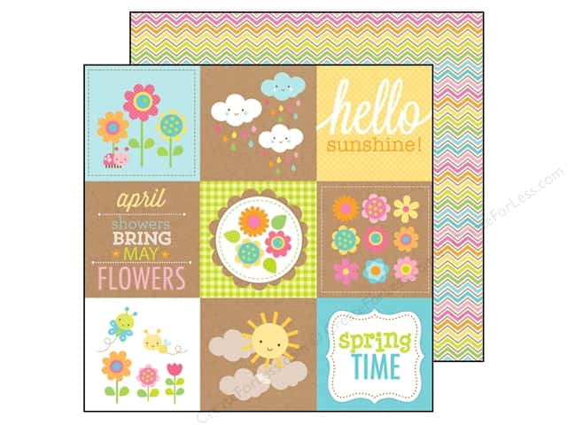 Doodlebug 12 x 12 in. Paper Hello Sunshine Rainbow Chevron (25 sheets)