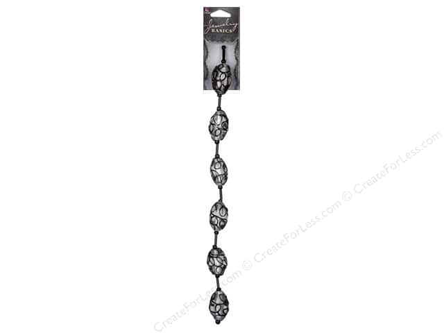 Cousin Basics Glass Beads 1 in.  Lacework Oval Black