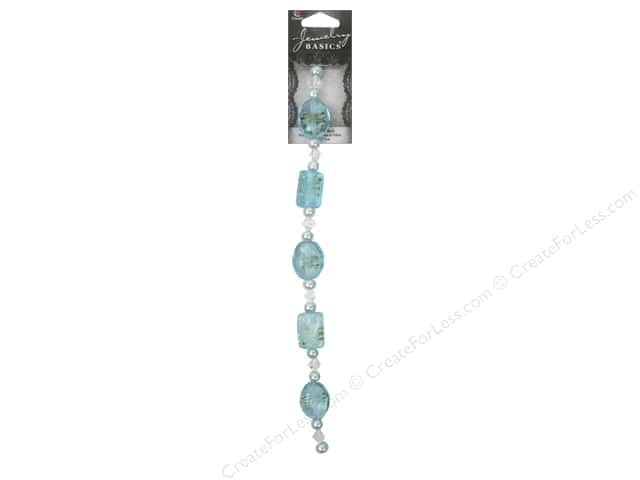 Cousin Basics Glass Bead Strand 6 3/4 in. Rectangle and Oval Blue