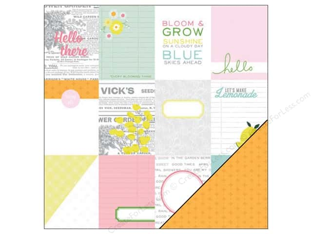 "Pink Paislee Citrus Bliss Collection Paper 12""x 12"" Hello (25 sheets)"