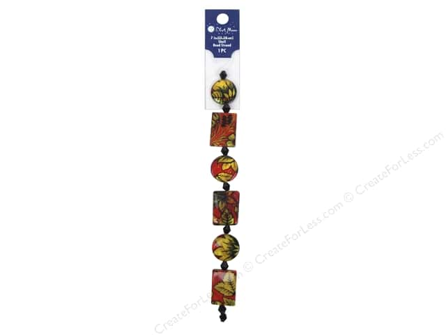 Blue Moon Beads Bead Strand 7 in. Rectangle & Round Red Floral