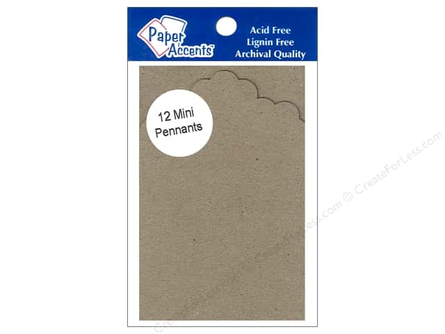 Paper Accents Chipboard Pennants 2 1/2 x 4 in. Mini Floral Scallop 12 pc. Natural