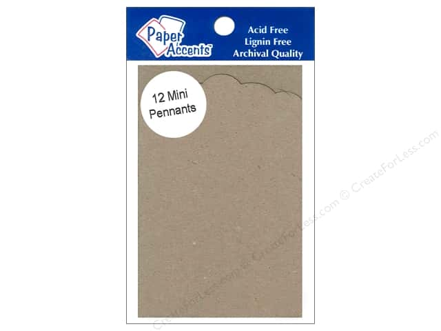 Paper Accents Chipboard Pennants 2 1/2 x 4 in. Mini Pointed Scallop 12 pc. Natural