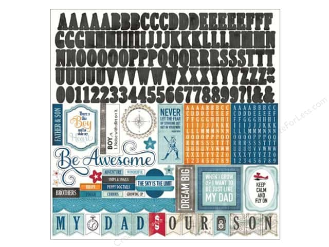Echo Park Sticker 12 x 12 in. Jack & Jill Boy Collection Alphabet (15 sheets)