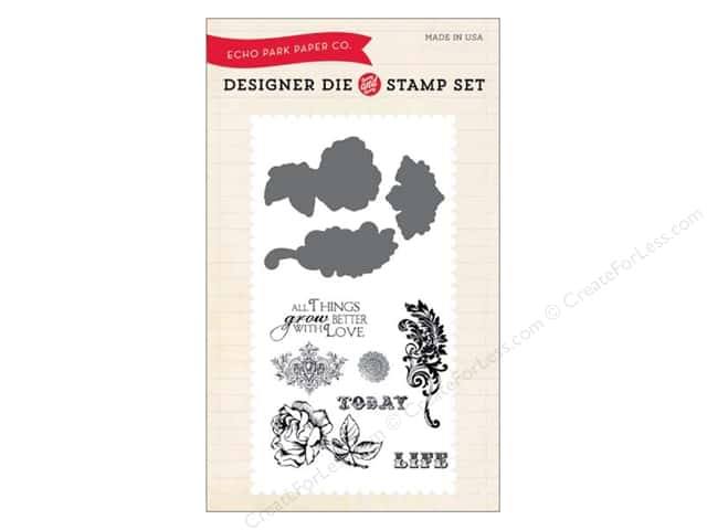 Echo Park Designer Die and Stamp Set Spring Things Grow Better With Love