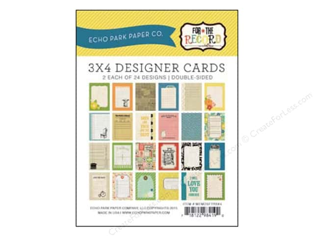 Echo Park Designer Cards 3 x 4 in. For The Record