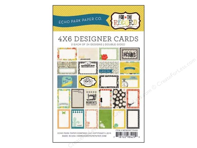 Echo Park Designer Cards 4 x 6 in. For The Record