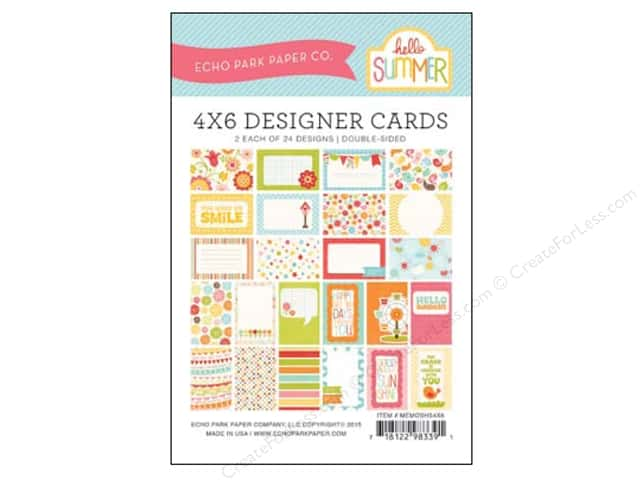 Echo Park Designer Cards 4 x 6 in. Hello Summer