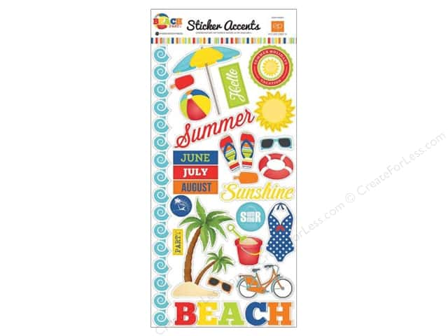 Echo Park Sticker 6 x 12 in. Beach Party Collection Accent (15 sets)