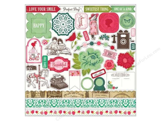 Echo Park Sticker 12 x 12 in. Jack & Jill Girl Collection Element (15 sheets)