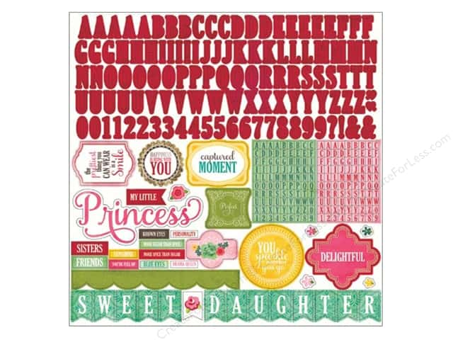 Echo Park Sticker 12 x 12 in. Jack & Jill Girl Collection Alphabet (15 sheets)