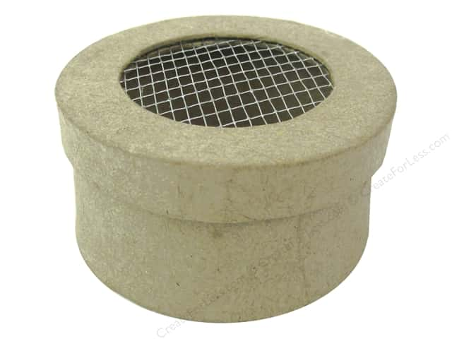 PA Paper Mache Mini Round Box with Wire on Lid 3 in.