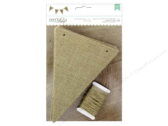 American Crafts DIY Shop 2 Pennant Banner 4 1/2 x 6 1/2 in. Burlap 24 pc.