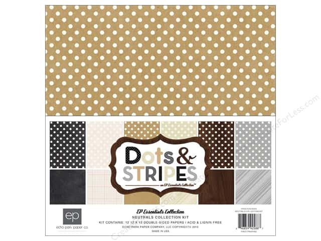 Echo Park 12 x 12 in. Collection Kit Dots & Stripes Neutral