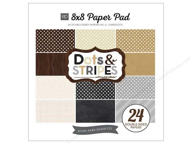 Echo Park 8 x 8 in. Paper Pad Dots & Stripes Neutral