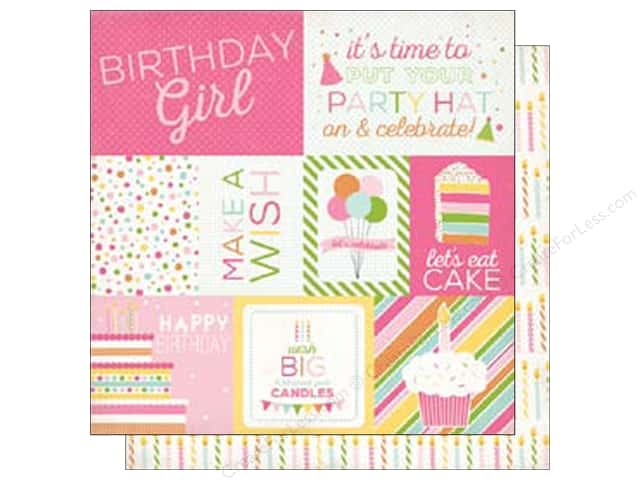 Echo Park 12 x 12 in. Paper Birthday Wishes Girl Collection Journal Cards (25 sheets)