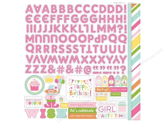 Echo Park Sticker 12 x 12 in. Birthday Wishes Girl Collection Alpha (15 sets)