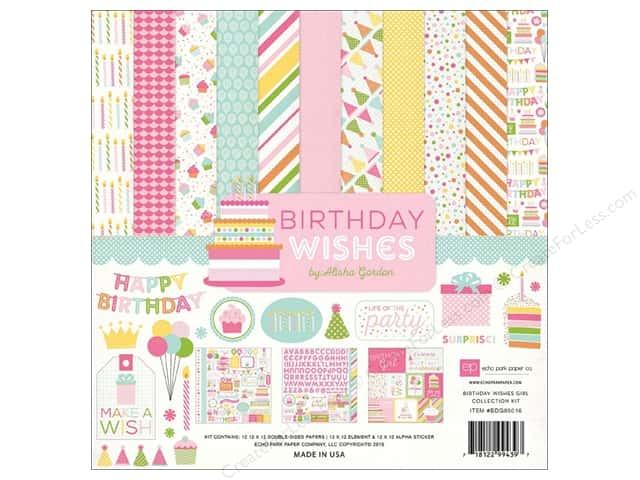 Echo Park 12 x 12 in. Collection Kit Birthday Wishes Girl
