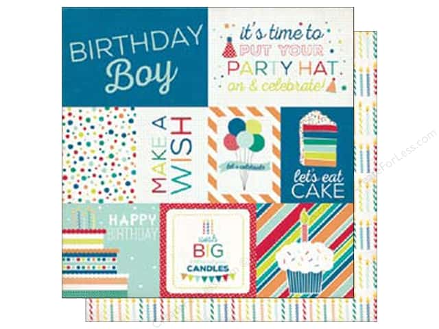 Echo Park 12 x 12 in. Paper Birthday Wishes Boy Collection Journal Cards (25 sheets)