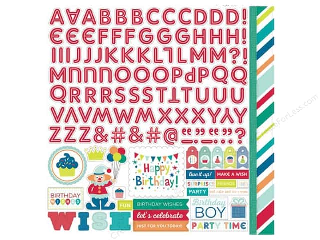 Echo Park Sticker 12 x 12 in. Birthday Wishes Boy Collection Alpha (15 sheets)