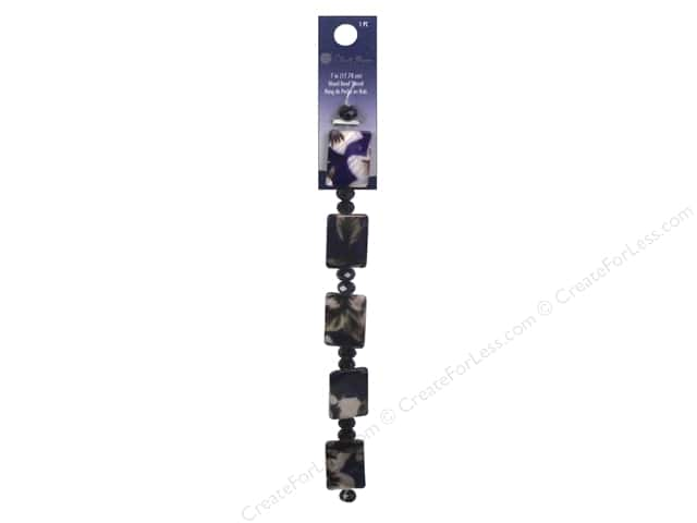 Blue Moon Beads Bead Strand 7 in. Wood Floral Rectangle Purple