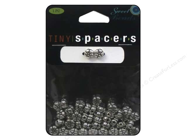 Sweet Beads Tiny Spacers Flower 6.5 mm 45 pc. Silver
