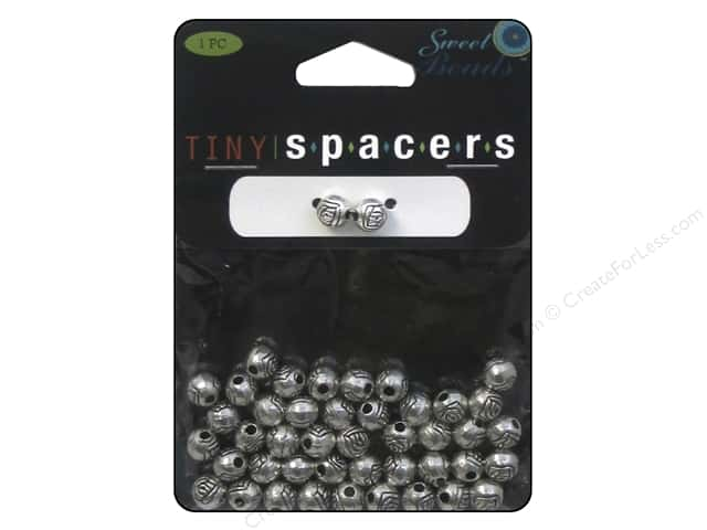 Sweet Beads Tiny Spacers Round 6 mm 45 pc. Silver