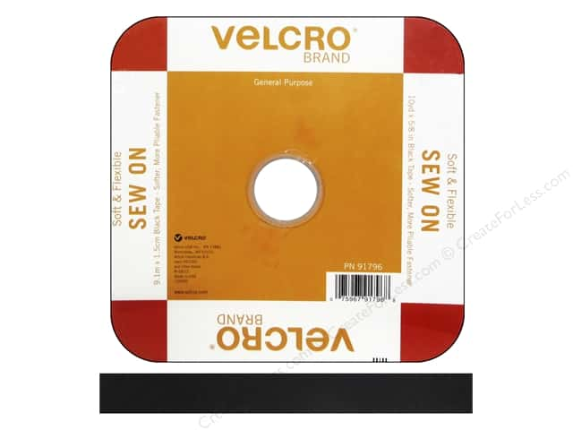 Velcro Soft Sew On Tape 5/8 in. x 30 ft. Reel Black (30 feet)