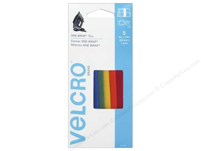 Velcro One Wrap Ties 1/2 x 8 in. Assorted 5 pc.