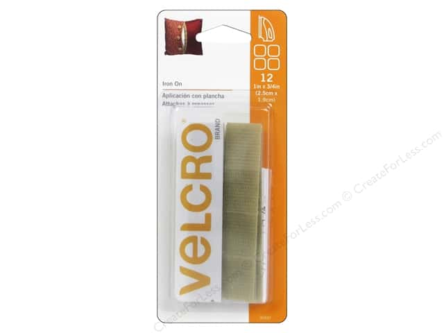 Velcro Fabric Fusion Rectangle 3/4 x 1 in. Beige 12 pc.