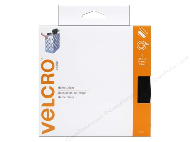 Velcro Sew On & Sticky Back 1 in. x 15 ft. Black (15 feet)