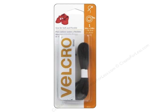 Velcro Soft Sew On Tape 5/8 x 30 in. Black