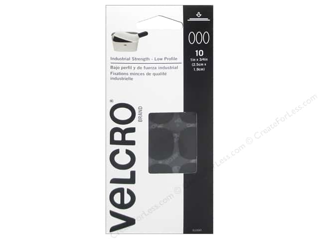 Velcro Sticky Back UltraThin 1 x 3/4 in. Black 10 pc.