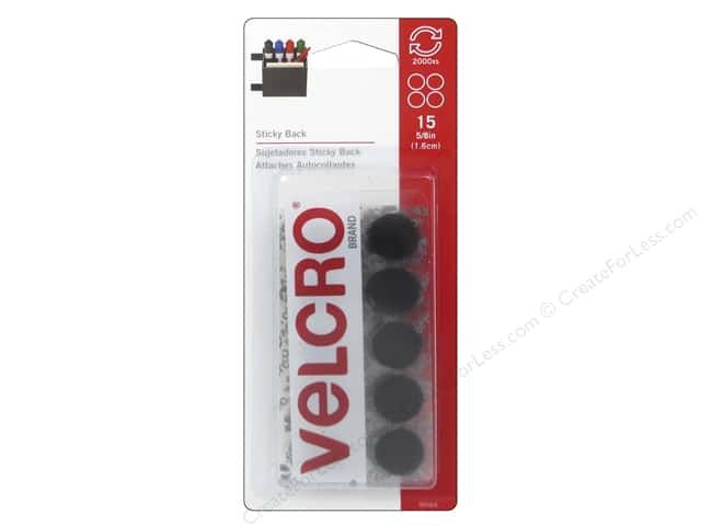 Velcro Sticky Back Coin Fasteners 5/8 in. Black 15 pc.
