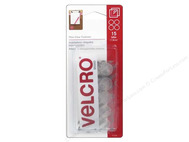 Velcro Sticky Back Coin Fasteners 5/8 in. Clear 15 pc.