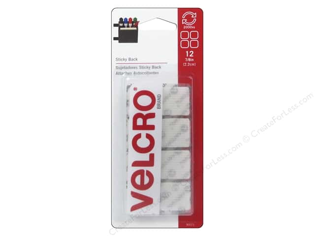 Velcro Sticky Back Square 7/8 in. White 12 pc.