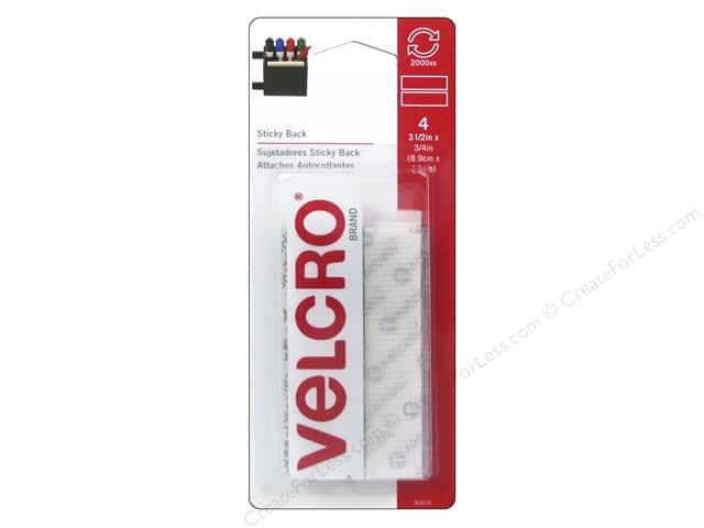Velcro Sticky Back Tape 3/4 x 3 1/2 in. White 4 pc.