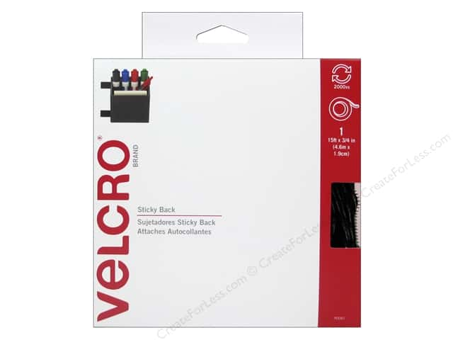 Velcro Sticky Back Tape 3/4 in. x 15 ft. Black (15 feet)