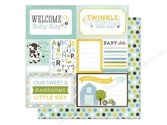 Echo Park 12 x 12 in. Paper Bundle of Joy Boy Collection Welcome Baby Boy (25 sheets)