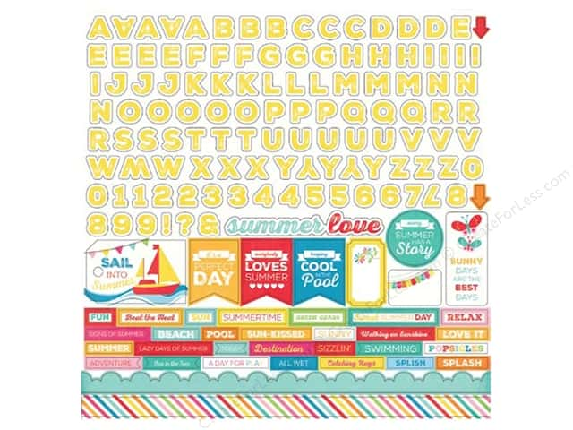 Echo Park Sticker 12 x 12 in. I Love Sunshine Collection Alphabet (15 sets)