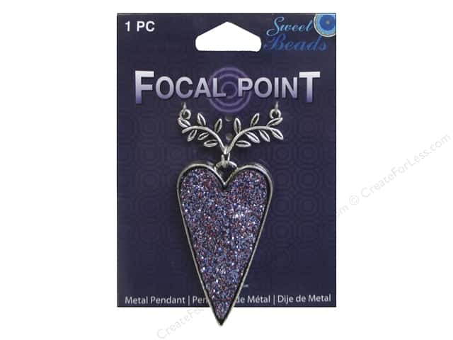Sweet Beads EWC Focal Point Pendant Metal Heart Purple/Silver 1pc